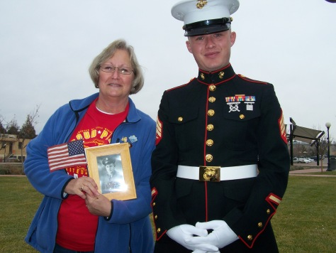 This is me with my son Brandon.  I'm holding a photograph of my father-in-law.