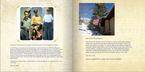 A letter from a Korean War veteran (Navy) and an Oil and Gas Executive