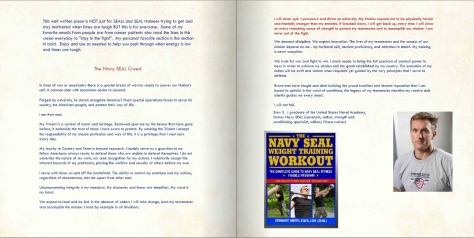 This is a two page spread from a veteran (Navy SEAL),  Strength and Conditioning Specialist and military fitness trainer